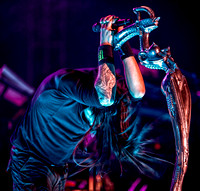 Jonathan Davis with his signature HR Geiger mic stand
